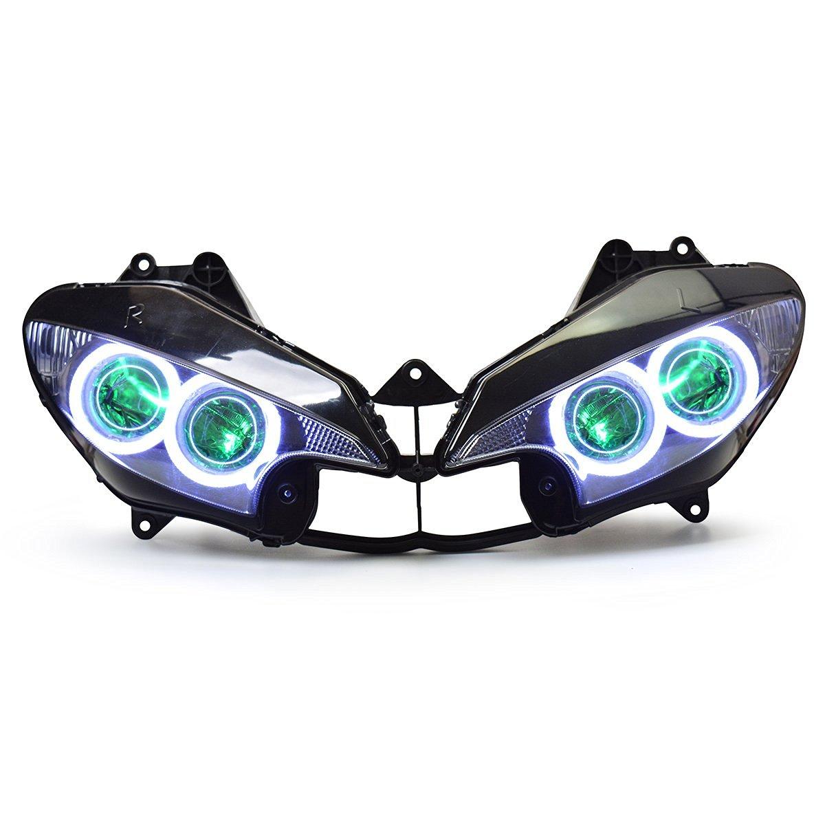 KT LED Headlight Assembly for Yamaha R6S 2006-2009 Green Angel Eye