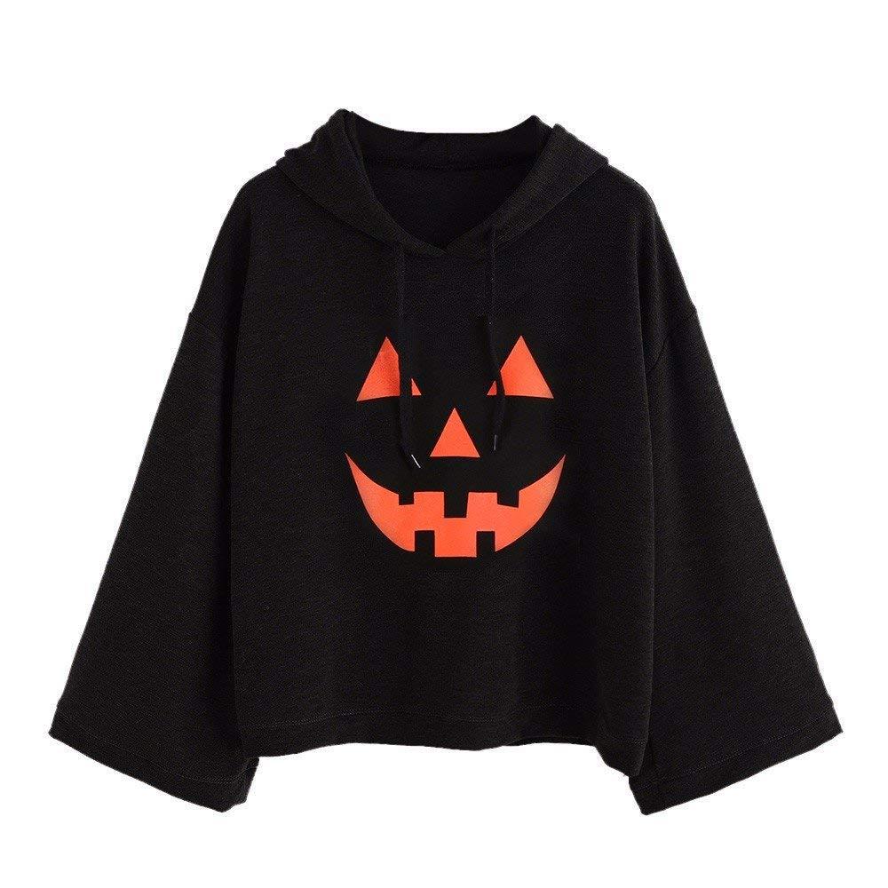 POTO Halloween Sweatshirt,Women Halloween Print Hoodie Sweatshirts Jumper Hooded Pullover Tops Blouse Shirt