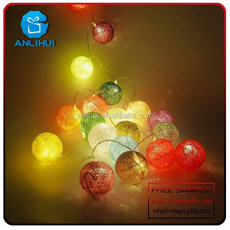 Multicolor ligh copper wire string lighting with cotton ball