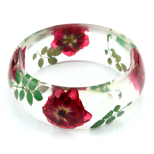 Red Rose Flowers Resin Bracelet /Dired flower resin bangle