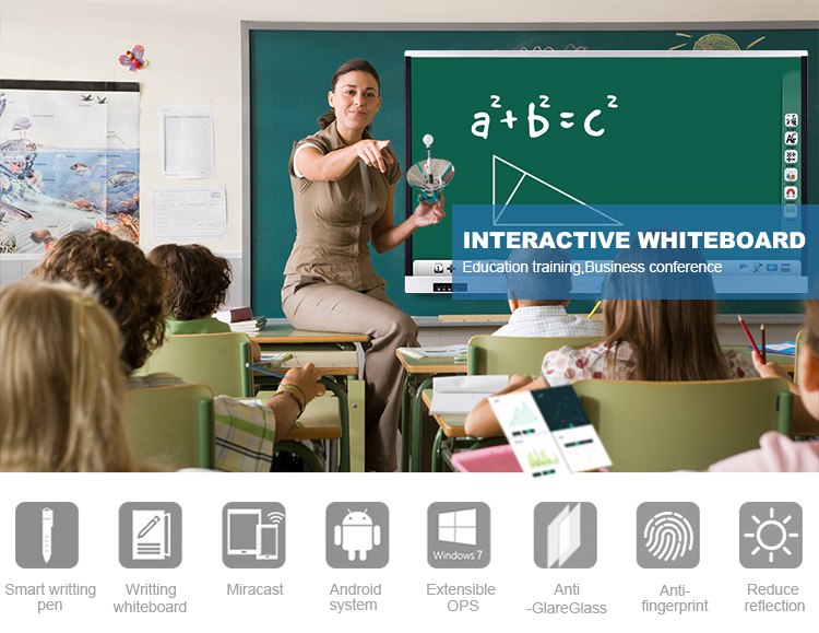 Portable 65 Inch educational equipment interactive wifi electronic whiteboard