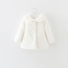 PHB20352 white color 2016 fur coats baby girls winter coat