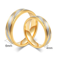 Rose gold wedding bands ring without stone 316L stainless steel polished lovers ring