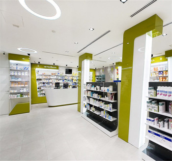 Retail Pharmacy Shop Interior Design Store Furniture Medical Display  Cabinet For Sale