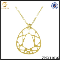 2017 new design hollow teardrop yellow gold over silver pendant necklace jewelry manufacturer China