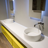 Solid surface bathroom white color vanity top with high quality