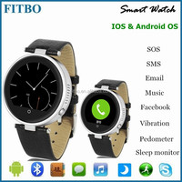 Round Shape + Leather + SIM/TF gps watch phone for samsung G9300 s6 edge