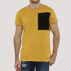 Blank men clothes t-shirt with pocket cut and sew dry fit t-shirt