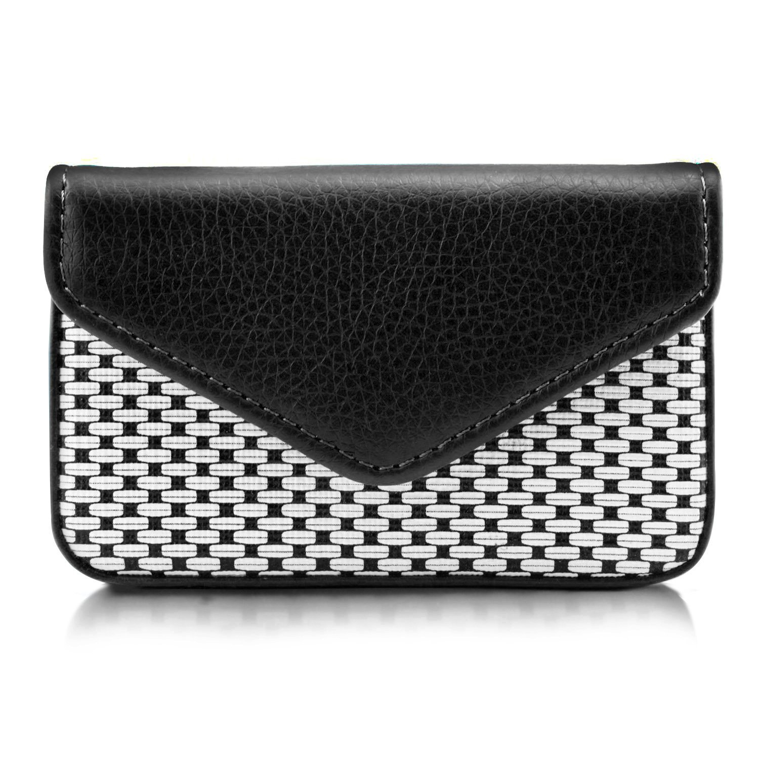 MaxGear Professional Leather Business Card Holder Wallet for Women or Men, Credit Card Case Business Name Card Holders Cards Organizer with Magnetic Shut Fashion Black