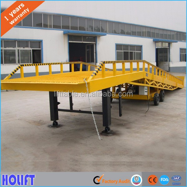 Good quality 15ton heavy duty adjustable container loading ramp with supporting legs
