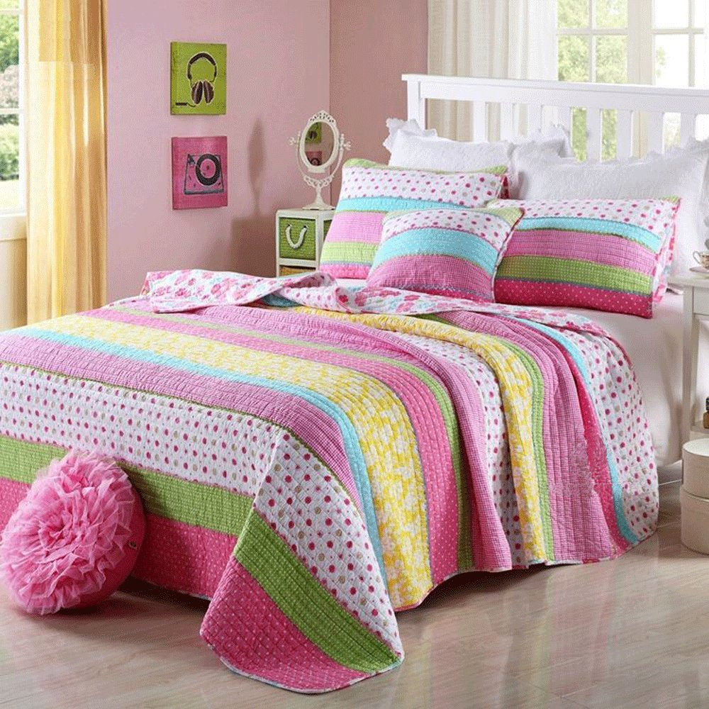 Get quotations · best comforter set 2 pieces bedding set lovely pink dot striped floral bedspreads quilts set for