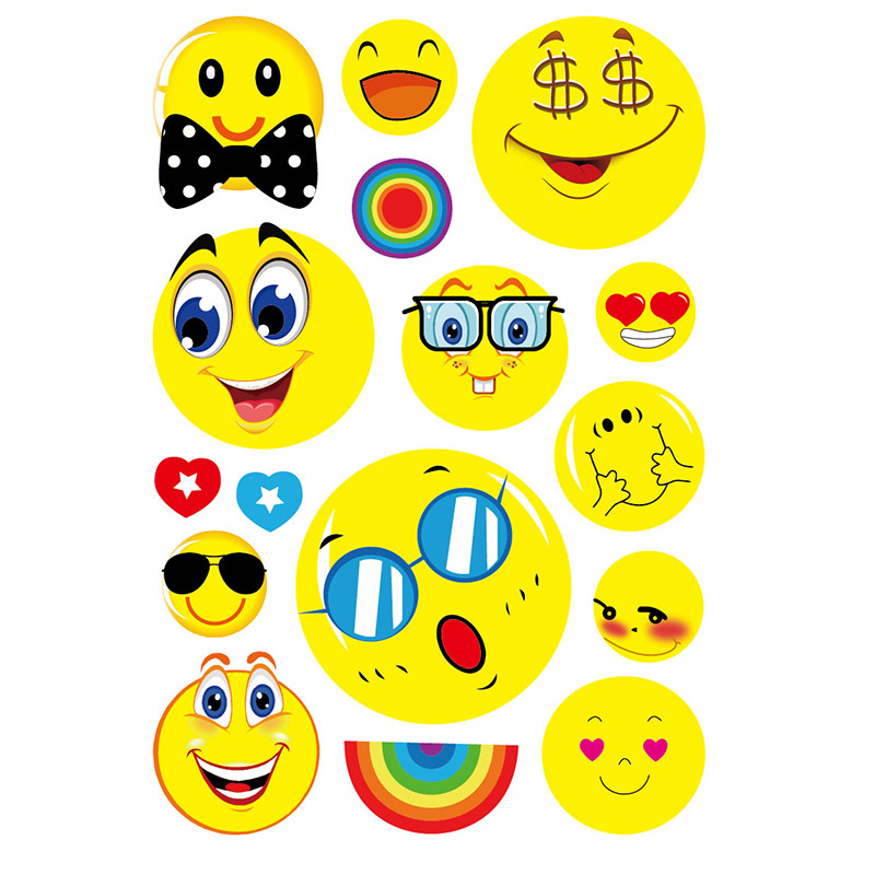 High quality emoji stickers die cut custom stickers, smile cartoon design sticker