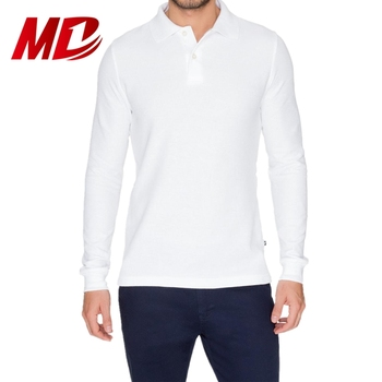 Mondon Men's Long Sleeve Pique Polo White