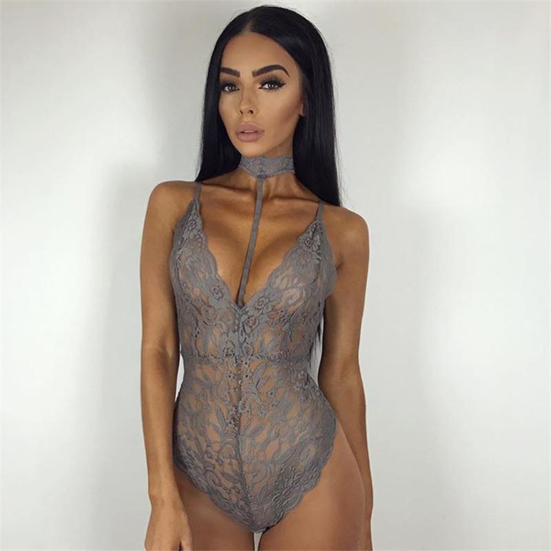 4242680018 Lace Bralette Cup Underwear Teddies Sleeveless Bodysuit Black - Buy ...