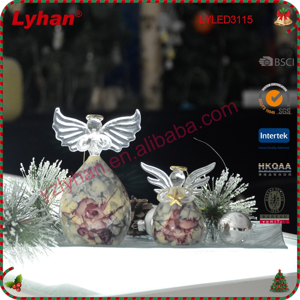 glass angel from Chinese supplier for Christmas decoration