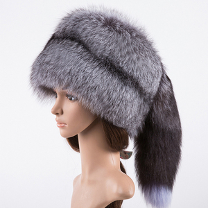 889e7b208 Silver Fox Fur Ushanka Hat 100%Real Fur With a fox tail hat