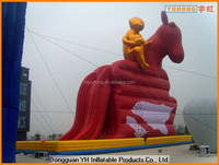 25m height giant PVC inflatable horse model with slide