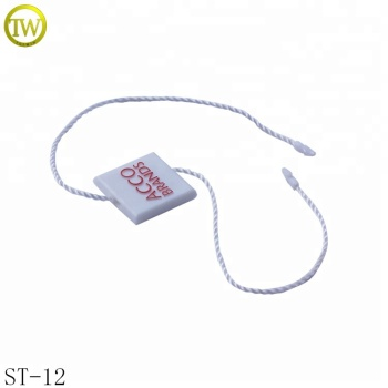Square shape custom brand name logo string plastic hang tag for lady dress