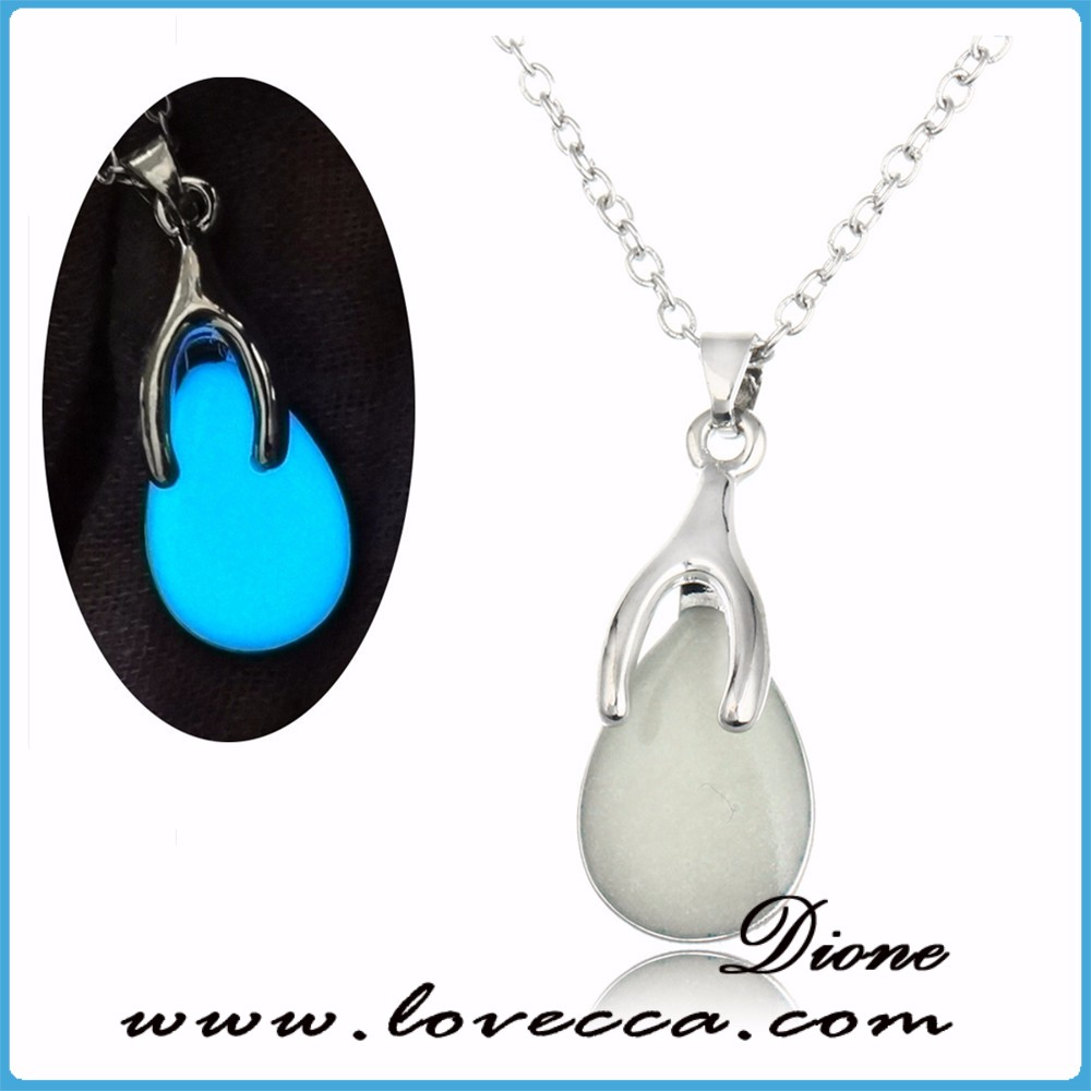 High quality nice custom design luminous water drop pendant necklace