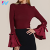 Latest women shirt design women ladies fashion elegant high neck pure color Fold sleeve long sleeve blouse formal wear