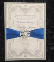 Wedding Invitation with Embellishment Silver & Blue