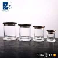 NOVARE 200ml High Quality Glass Candle Jar Storage Jar with Wooden Lid