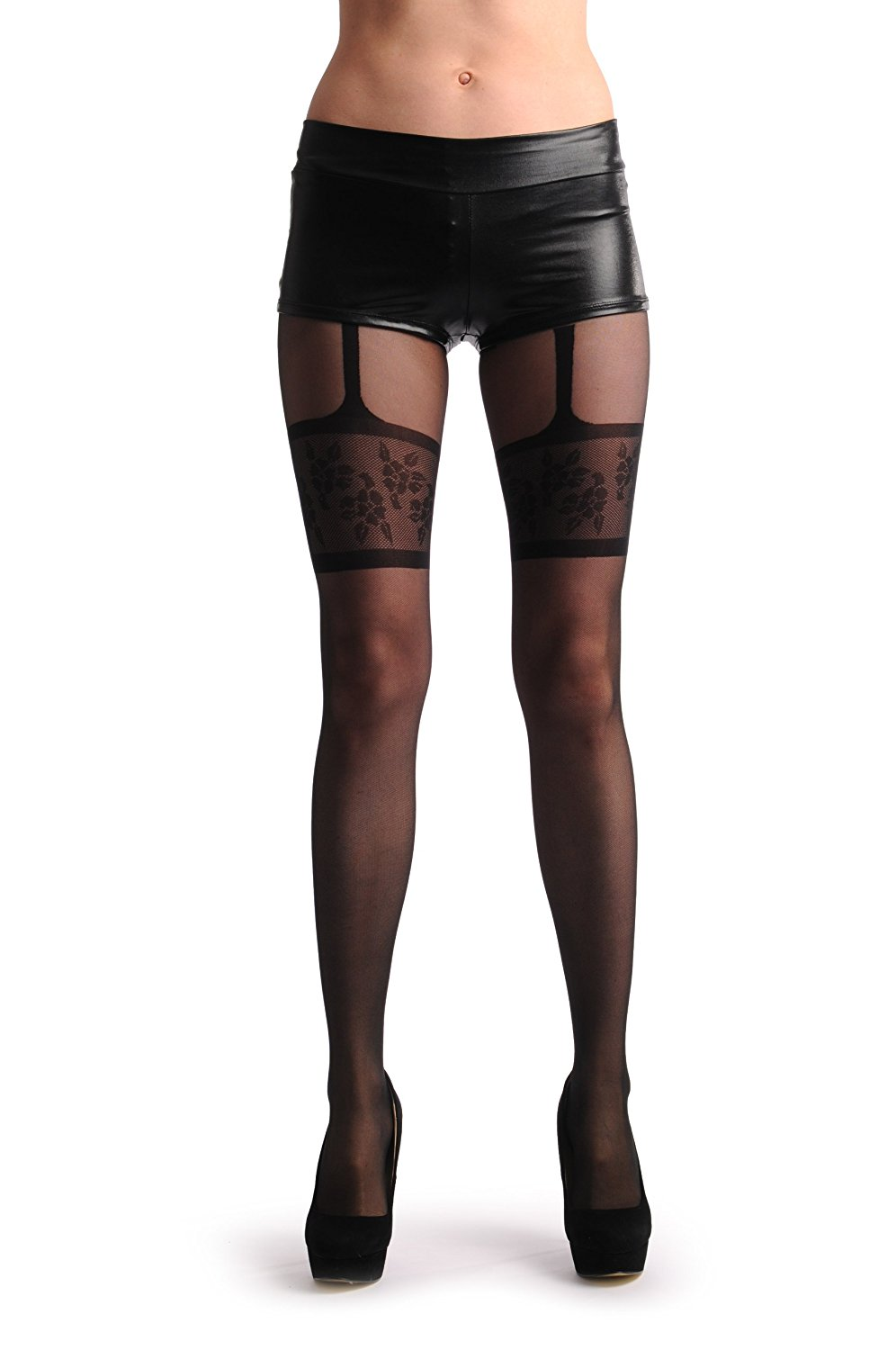 e8abd30452a Get Quotations · Black Faux Suspender With Floral Garter - Black Suspender  Floral Pantyhose (Tights)
