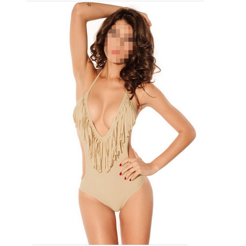 96a298bd85 Buy 2015 Women Swimwear One Piece Swimsuit Sexy Tassels Fleshcolor Solid  Backless Bandage Bathing Suit Monokini in Cheap Price on m.alibaba.com