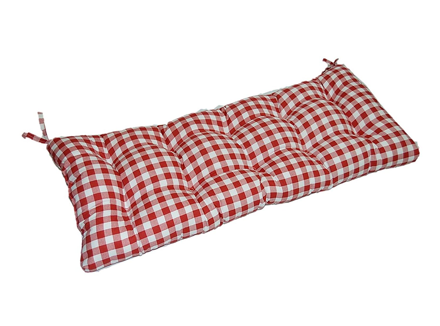 "Red and White Plaid / Country Checkered / Checkerboard Indoor Cotton Tufted Cushion with Ties for Bench, Swing, Glider - Choose Size (44"" x 17"")"