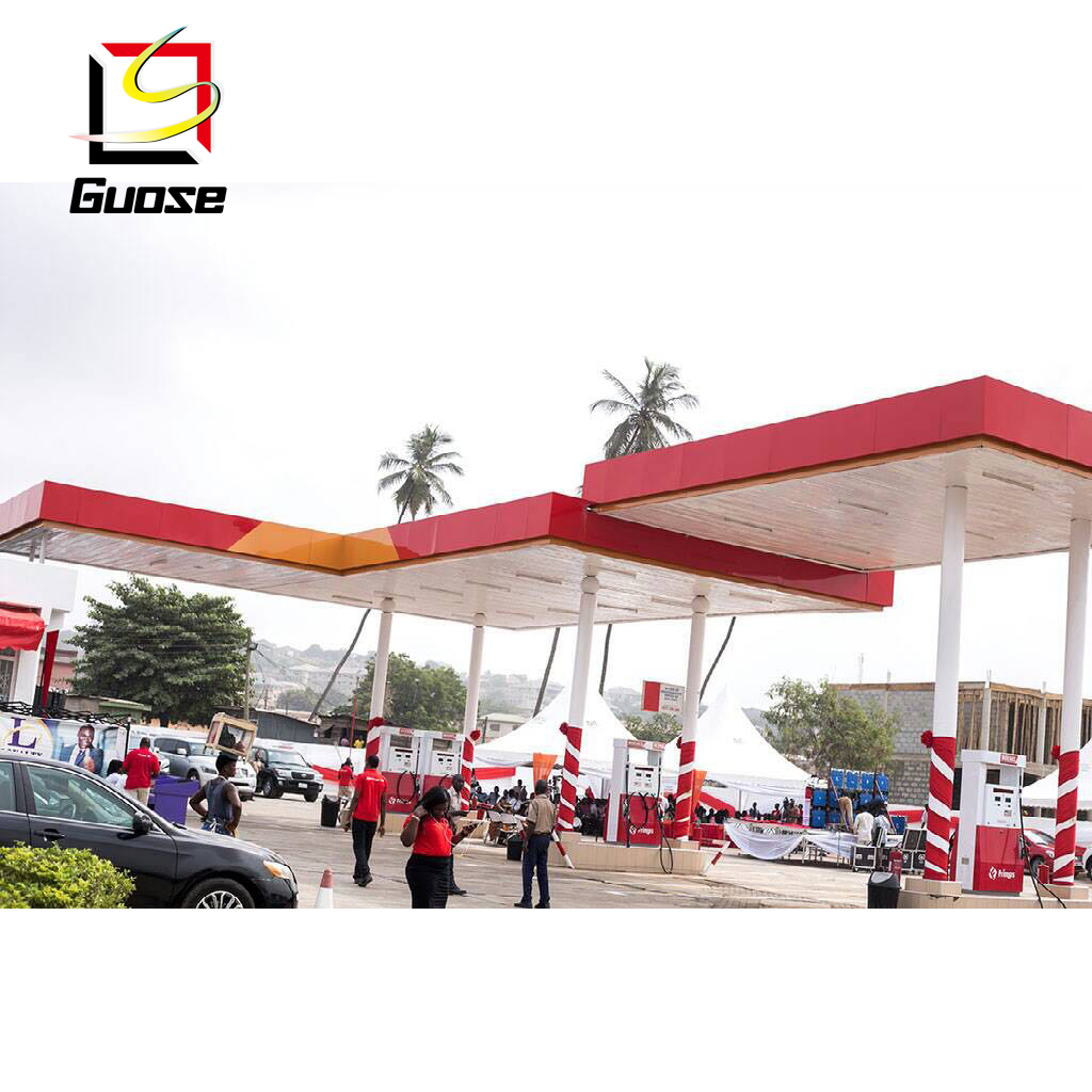 steel structure for petrol station canopies gas station sign board