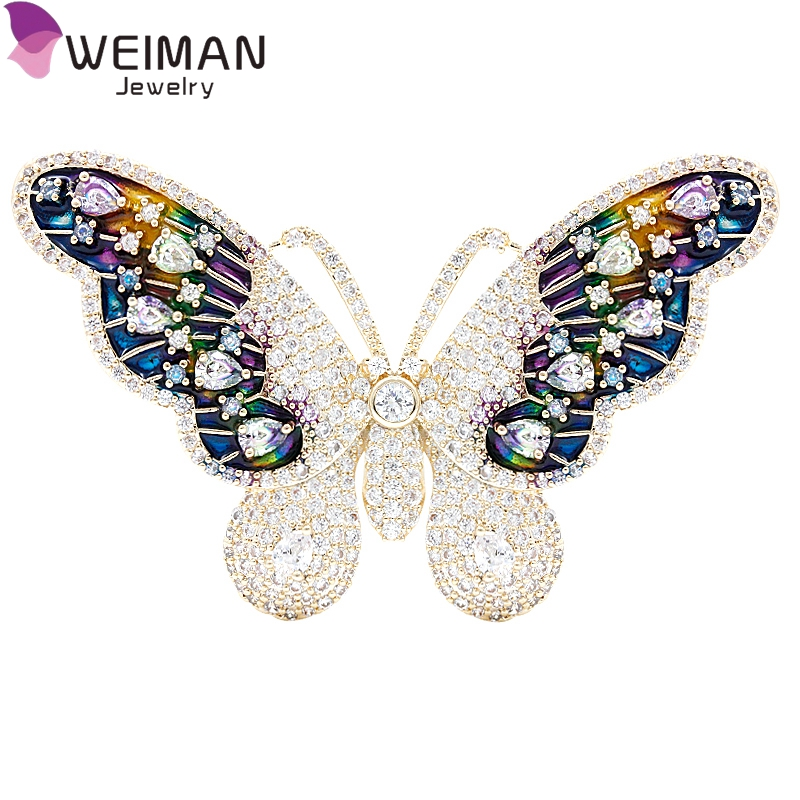 Colorful Fashion Women Jewelry Copper Brass CZ Cubic Zirconia Butterfly Brooch Pin