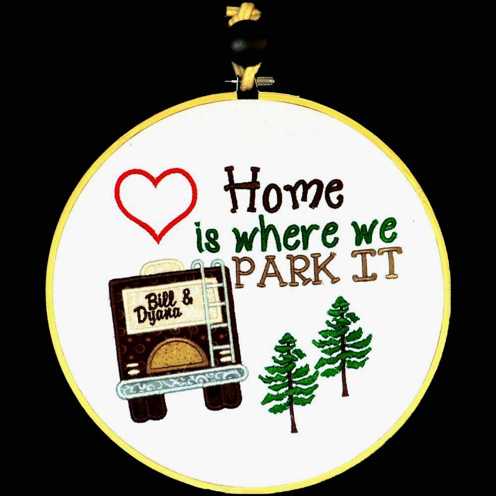 Personalized 9 hoop art embroidery rv decor camping decor wall hanging