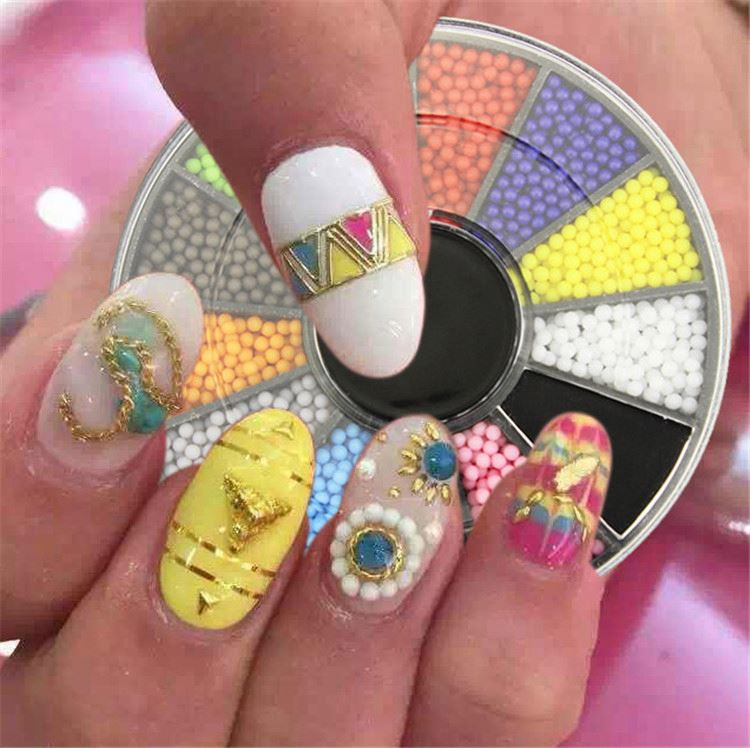 Modern style special design round shape glitter nail decoration in wheel for sale