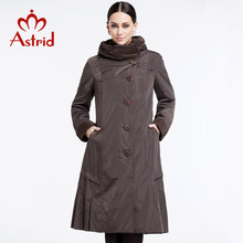Astrid 2014 Women's coat high quality spring winter autumn trench slim Hooded fleece falbala Lapel button fashion big size