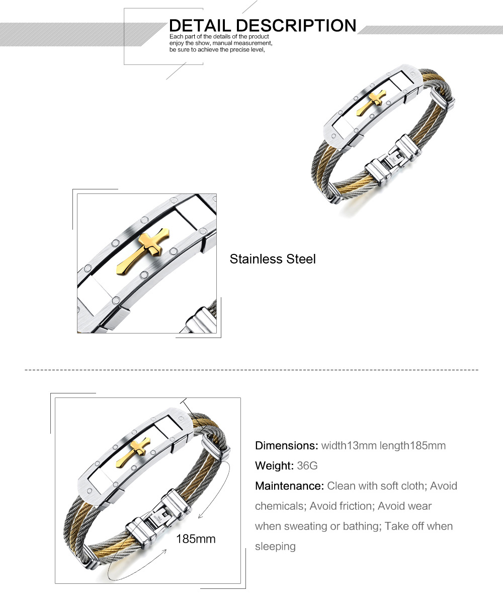 Stainless steel three wire wristband bracelet with gold cross mens bracelet