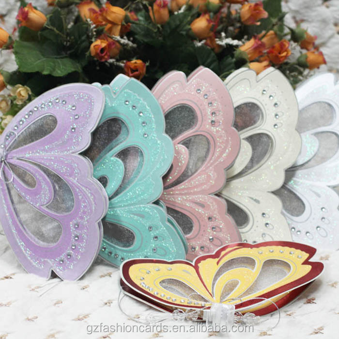 Wholesale 2015 Royal Scroll Butterfly Wedding Invitation Card