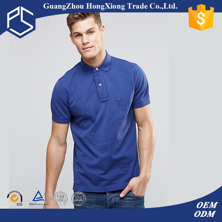 China Factory Hongxiong Cheap Hot Sale Pique Blue Embroidery Men Wholesale Custom Logo Polo Shirt