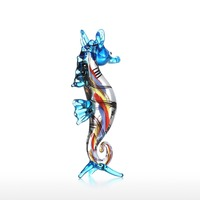 Little Seahorse Sea Life Sculpture Wild Life Figurine Handmade Craft Hand Blown Glass Art Home Decor