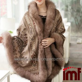 the latest d13fd c5377 Cashmere And Fox Fur Trim Cape Korean Fashion Online Shop Poncho - Buy  Online Shop Poncho,Cashmere And Fox Fur Trim Cape,Korean Fashion Online  Shop ...