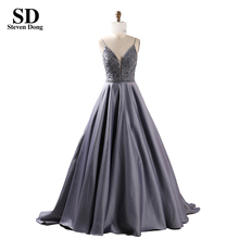 <span class=keywords><strong>2019</strong></span> Zilvergrijs Night Gown Kralen Avond <span class=keywords><strong>Prom</strong></span> Dress Party <span class=keywords><strong>Jurk</strong></span>