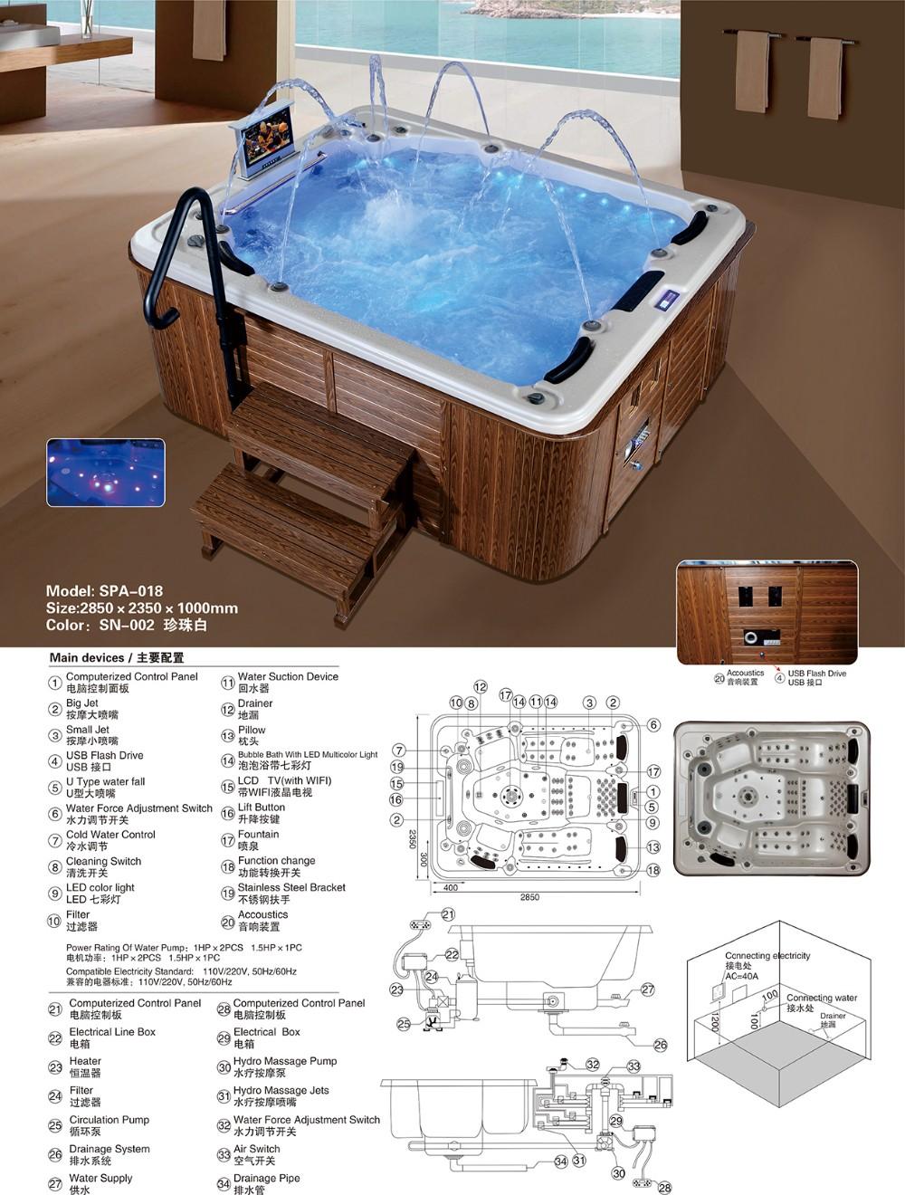 Spa-018 Luxury Tv Spa Tubs,Indoor Hot Tubs Sale 5 Person - Buy ...
