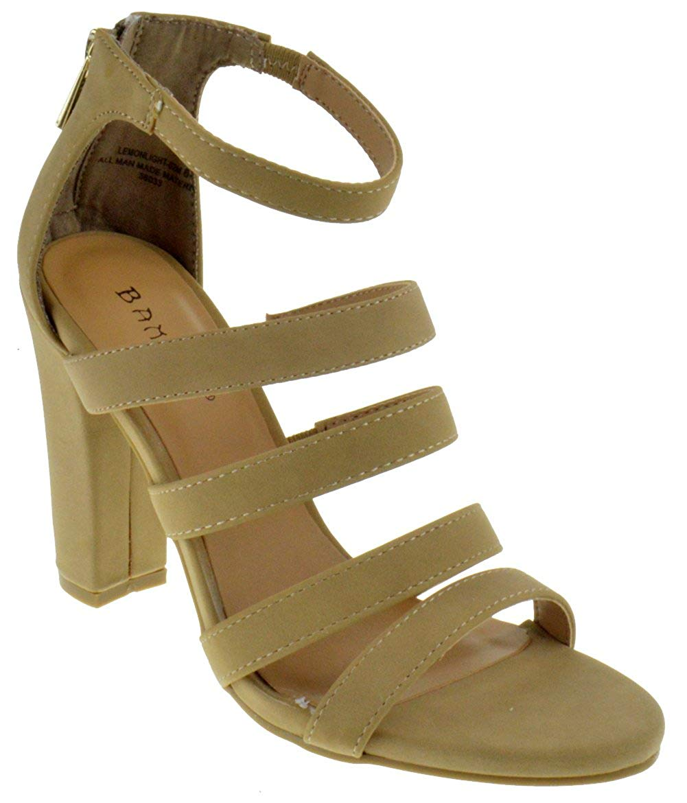 03987b8f1 Get Quotations · BAMBOO Lemonlight 02 M Womens Strappy Chunky Heeled  Gladiator Sandals Natural Nubuck 8.5
