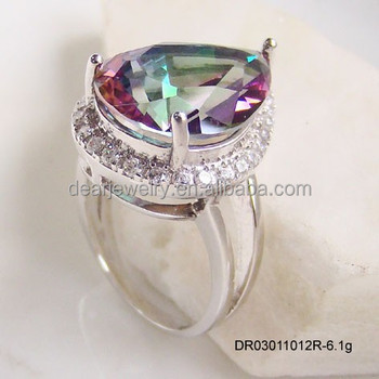high product stone silver topaz mystic jewelry indian detail rings big wholesale quality