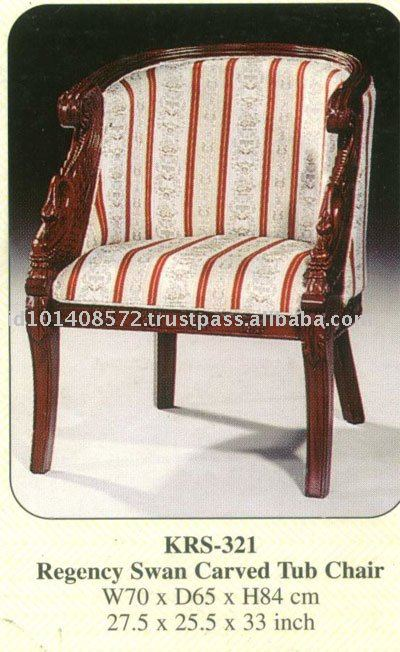 Regency Swan Carved Tub Chair Mahogany Indoor Furniture.
