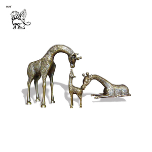 life size foundry metal hand crafts bronze giraffe family statue for outdoor park BRAA-179