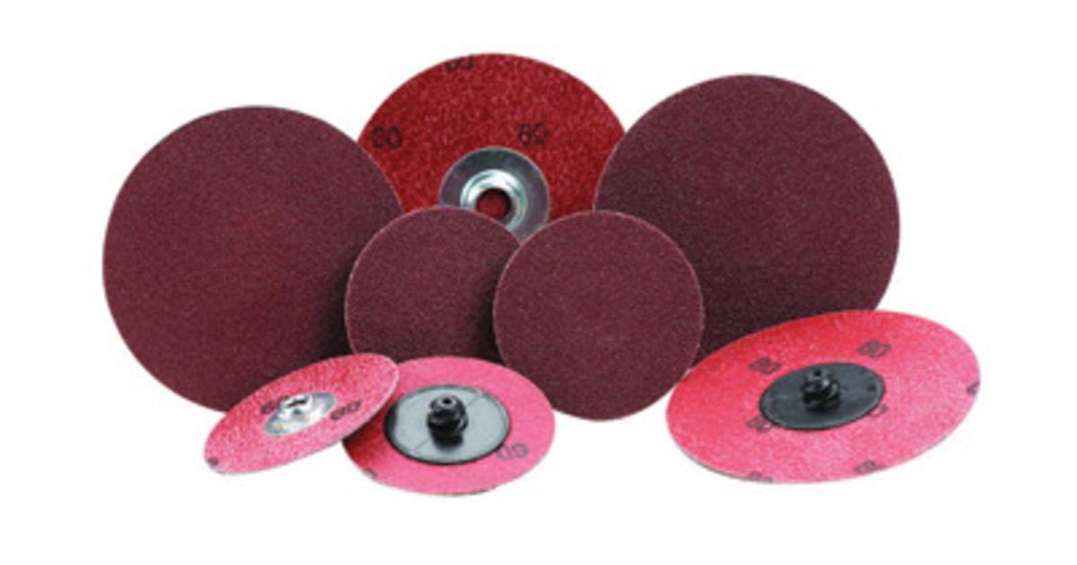 "Merit 3"" X 2-Ply 36 Grit Aluminum Oxide Powerlock TR (Type III) Quick Change Cloth Disc"