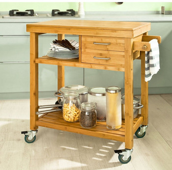 Wooden Kitchen Cart Storage Trolley With Wheels Hotel Serving Trolleys  Towel Bar
