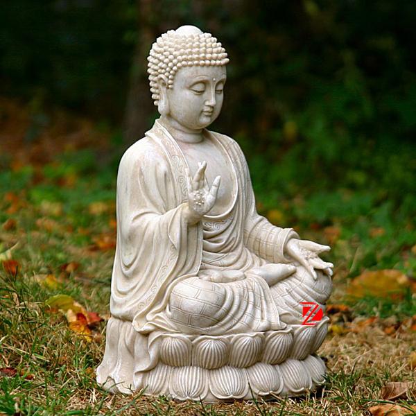 High Quality White Marble Carved Thai Buddha Statue