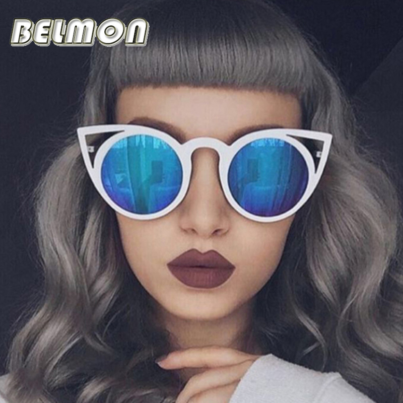 3023fe8de135b Fashion Cat Eye Sunglasses Women Brand Designer Sun Glasses For Ladies  Vintage Oculos cateye Mirror Colorful