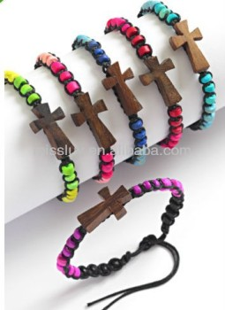 Cross Sign Coco Bracelets Jewelry Surfer Style Bracelet Wood Bead Friendship